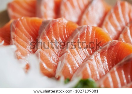 Fresh raw salmon sashimi