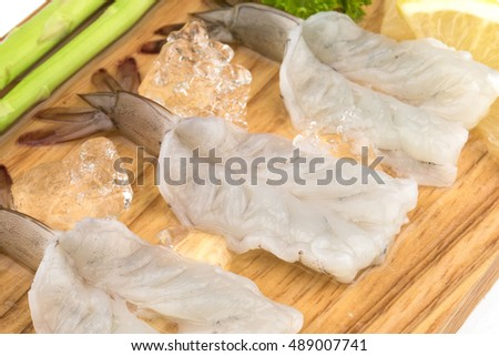 fresh Raw shrimp closeup food seafood isolated material