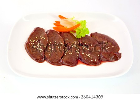 Fresh raw veal liver slices