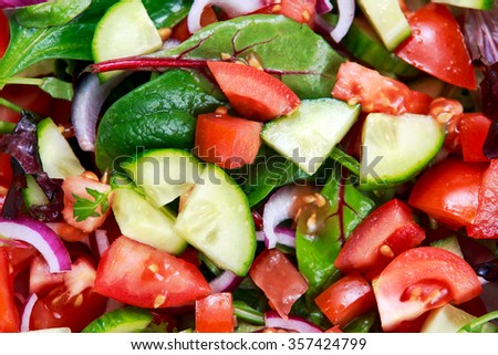 fresh raw vegetable mixed salad. close up,  view from top. - stock photo