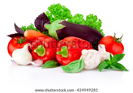 Fresh raw vegetables isolated on a white background - stock photo