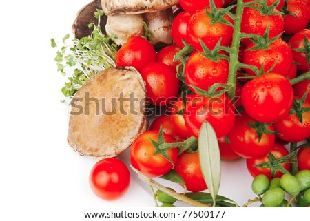 fresh raw vegetables on white plate over white