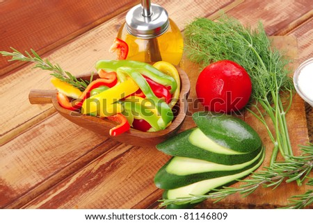 fresh raw vegetables served for salad on wood