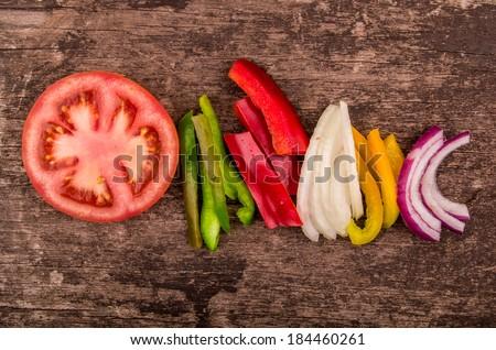 fresh recently cut tomatoes salad - stock photo