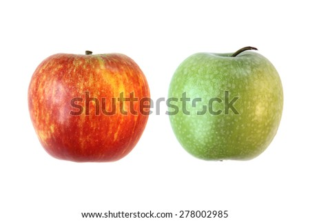 Fresh red and green apple on isolated white background - stock photo