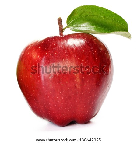 Fresh red and green apple on white background - stock photo