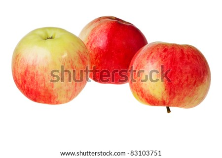 Fresh red and green apples isolated over white background. - stock photo