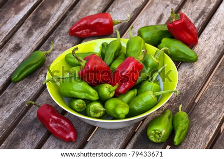 Fresh red and green pepper. - stock photo