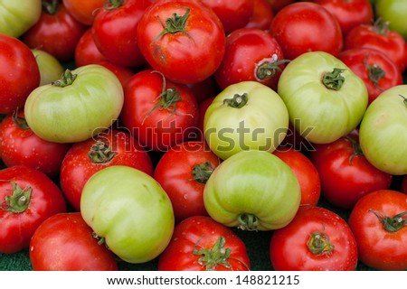 Fresh Red and Green Tomatoes - stock photo