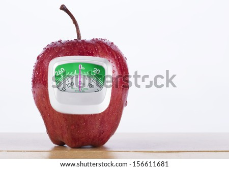 Fresh Red apple and green measurement meter  on white background - stock photo
