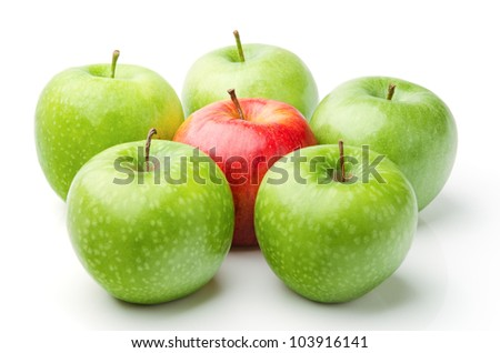 Fresh Red Apple Between Green Apples, Isolated on White - stock photo