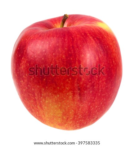 Fresh red apple, isolated on white. - stock photo
