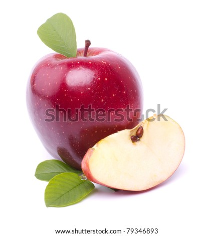 fresh red apple isolated on white background - stock photo
