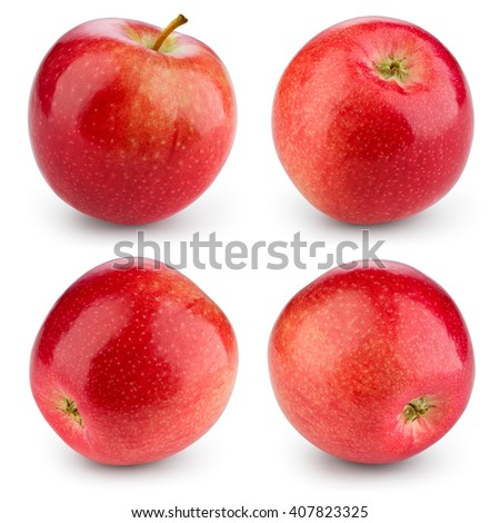 Fresh red apple isolated on white. Collection. With clipping path