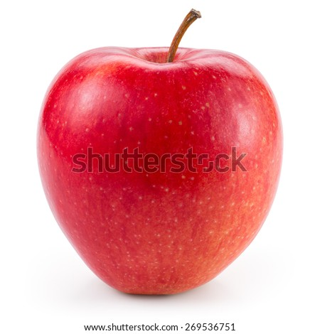 Fresh red apple isolated on white. With clipping path - stock photo
