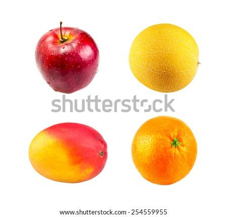 Fresh Red apple,  Mango fruit, Ripe melon and Juice orange fruit isolated on white - stock photo
