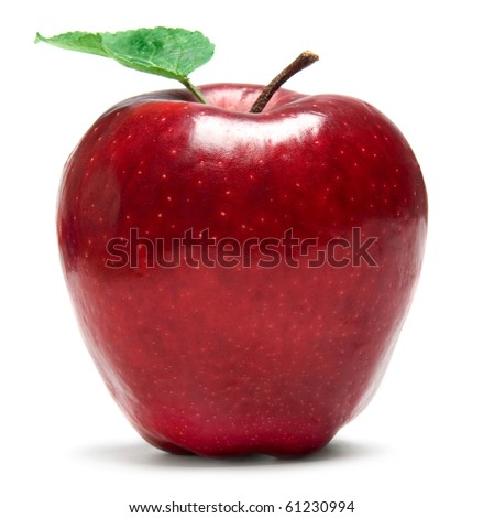 Fresh red apple on white background - stock photo