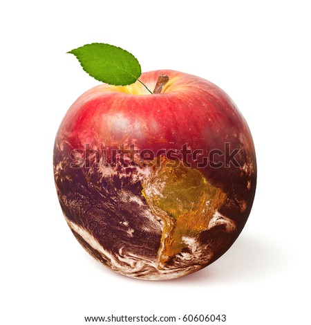 Fresh red apple with a leaf transforming to Earth (Earth image courtesy of NASA) - stock photo