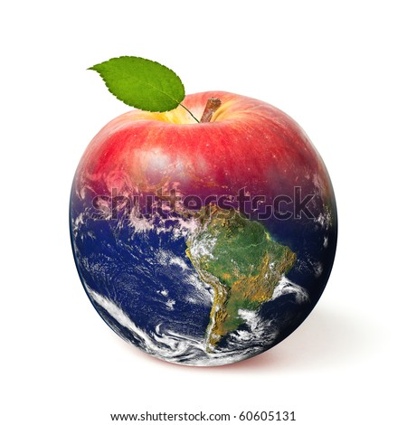 Fresh red apple with a leaf transforming to Earth (Globe image courtesy of NASA) - stock photo
