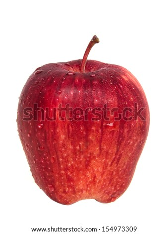 fresh red apple with drops on white background - stock photo
