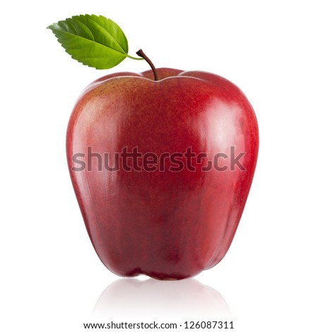 Fresh Red Apple with green leaf on white background - stock photo