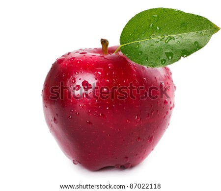 fresh red apple with leaf - stock photo