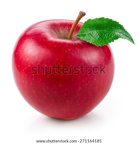 Fresh red apple with leaf isolated on white. - stock photo