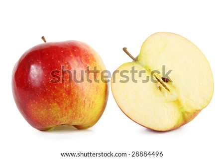 fresh red apple with slice
