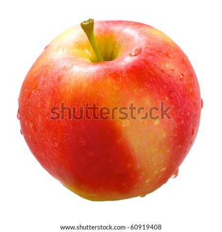 fresh red apple with water drops isolated on white - stock photo