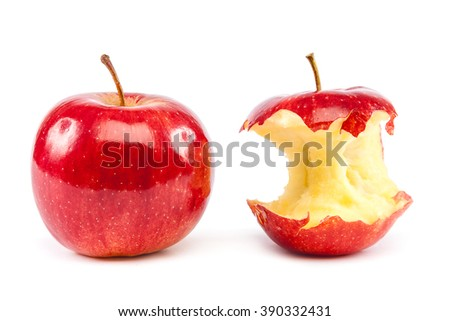 Fresh red apples and apple core isolated on white background. - stock photo