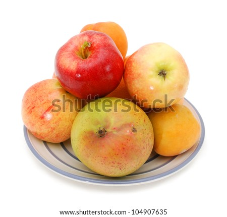 fresh red apples and plum,  pomelo, mango,  isolated on white background - stock photo