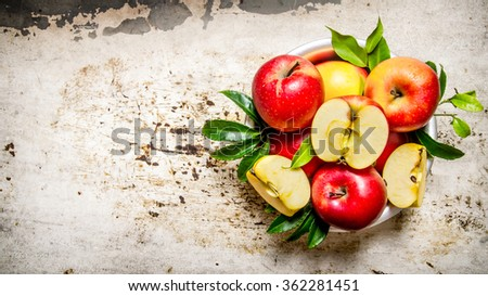 Fresh red apples in Cup . On the rustic background. Free space for text . Top view - stock photo