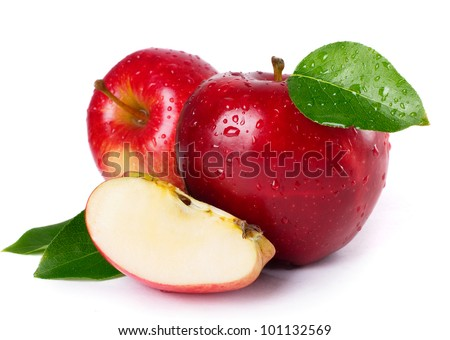 fresh red apples with leaves isolated on white background - stock photo