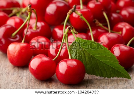 fresh red cherries - stock photo
