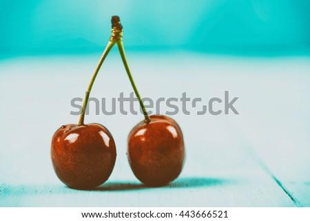 Fresh Red Cherry Fruit - stock photo