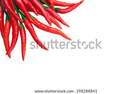 Fresh red chilli's on a white background