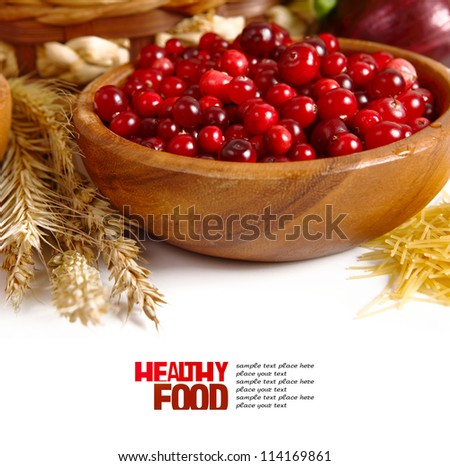 Fresh red cranberries - stock photo