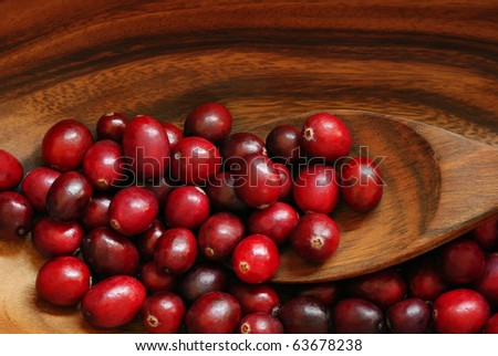 Fresh red cranberries in wooden bowl with spoon.  Macro with shallow dof. - stock photo