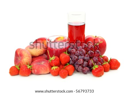 Fresh red fruits and juice isolated on white background - stock photo