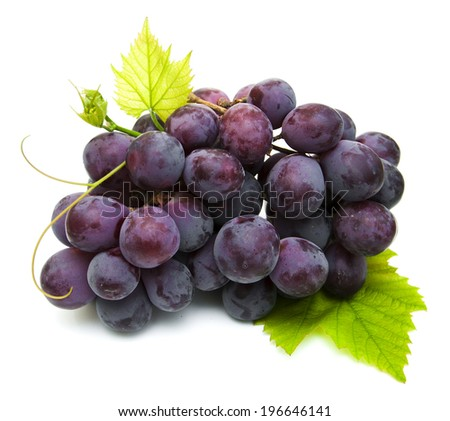 fresh red grapes  on a white background - stock photo
