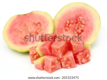 Fresh red guava over white background - stock photo