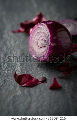Fresh red onion food background - stock photo