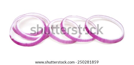 fresh red onion sliced on white background - stock photo