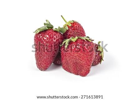 Fresh red ripe organic strawberries isolated on white background - stock photo