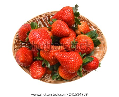 Fresh red ripe strawberries isolated in basket on white  - stock photo