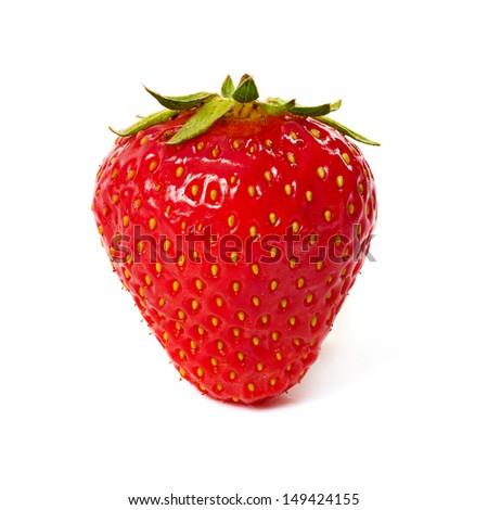Fresh red ripe strawberry isolated on white, macro image - stock photo