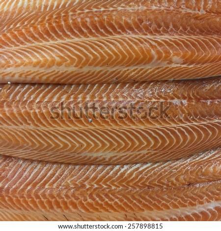 Fresh red salmon background texture - stock photo