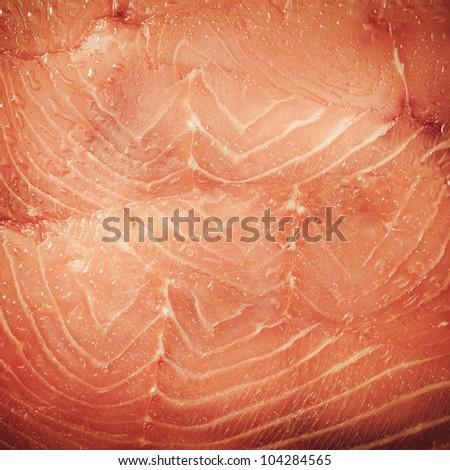 Fresh red salmon texture. Closeup - stock photo