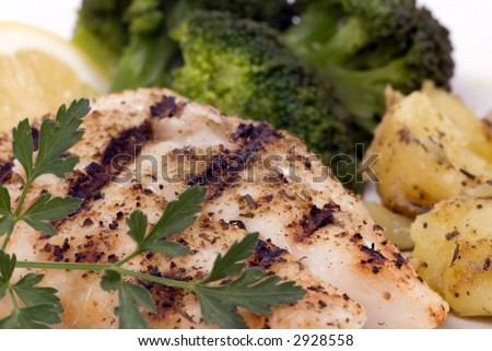 Fresh Red Snapper off the grill with vegetables and potatoes - stock photo