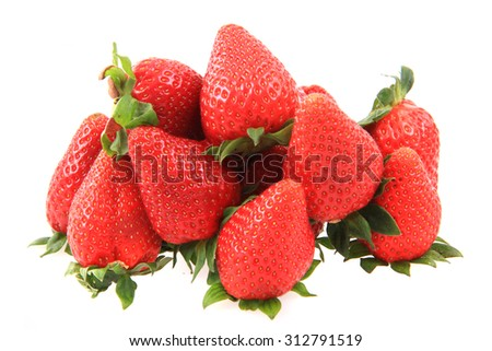fresh red strawberries isolated on the white background